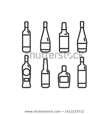 alcool · bouteilles · noir · silhouettes · blanche - photo stock © kup1984