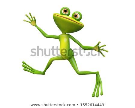3D Illustration Funny Stupid Frog Jumping Stock photo © brux