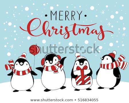 Hiver vacances pingouin noël carte postale vecteur Photo stock © robuart