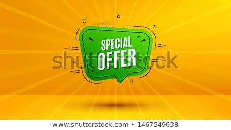 Discount banner shape. Special offer badge. Sale coupon bubble icon. Abstract yellow sunbeams backgr Stock photo © Designer_things