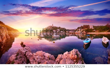 Krk. Island town of Krk evening waterfront view Stock photo © xbrchx