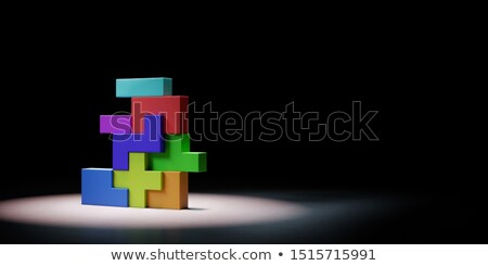 Colorful Blocks Combined Spotlighted on Black Background Stock photo © make