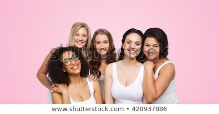 mulher · rosa · roupa · interior · belo · mulher · jovem · branco - foto stock © microolga