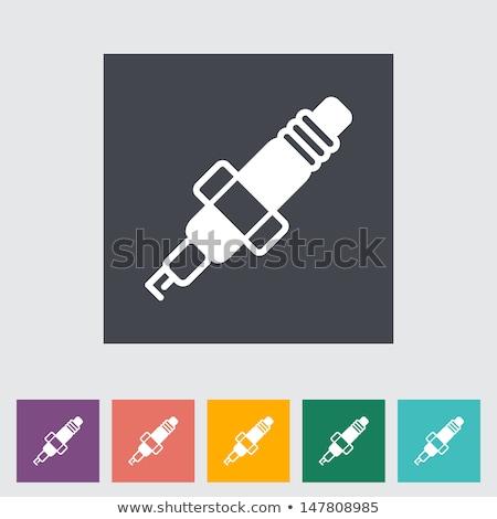 Ikon beyaz araba sanat gaz elektrik Stok fotoğraf © smoki