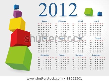 2012 cubes bleu rouge vert 3D Photo stock © marinini