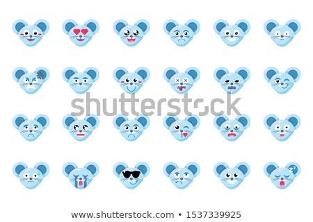 Mouse face sceptical emoticon sticker Stock photo © barsrsind