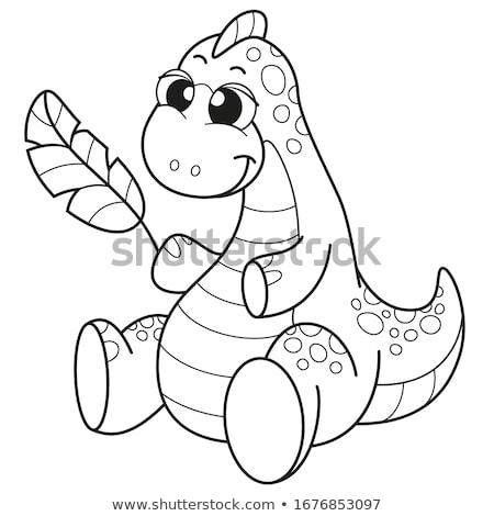 Cartoon dinosaurus kleurboek puzzel kinderen lichaam Stockfoto © natali_brill