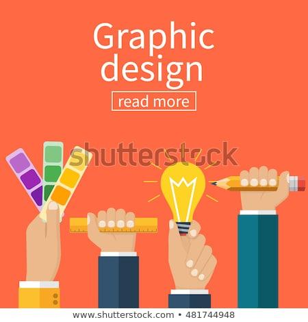 Grafik tasarımcı el cetvel çalışmak Stok fotoğraf © yupiramos