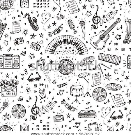 Música dibujado a mano garabatos instrumentos musicales Cartoon Foto stock © balabolka