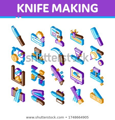 Knife Making Utensil Isometric Icons Set Vector Stock photo © pikepicture