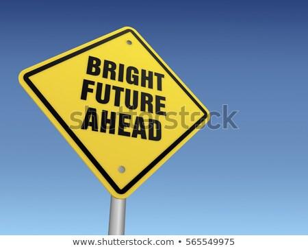 ярко будущем шоссе знак зеленый облаке улице Сток-фото © kbuntu