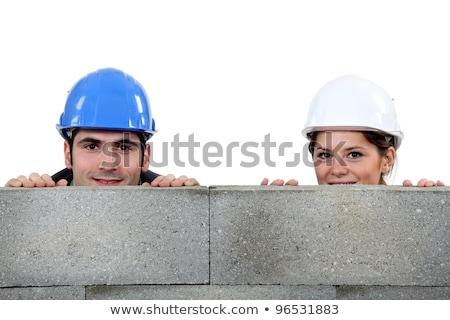 yüz · buruşturma · kadın · yukarı · arkasında · duvar - stok fotoğraf © photography33