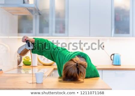 肖像 · 小さな · 疲れ · ビジネスマン · 首の痛み · 孤立した - ストックフォト © lithian