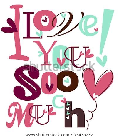 Amor amour texto corações casamento Foto stock © marinini