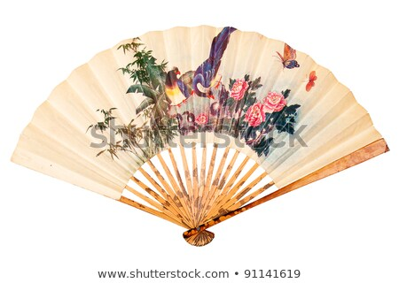 Oriental Wooden Chinese Fan Isolated On White Background Сток-фото © Taigi