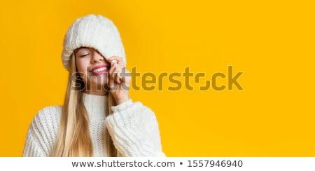 mooie · ogen · vrouw · wol · trui · brunette - stockfoto © imarin