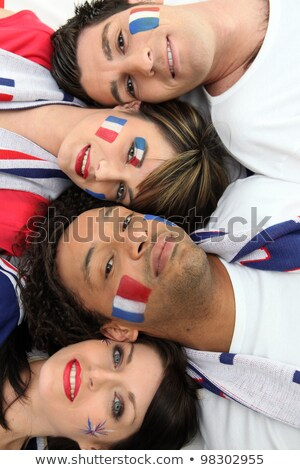 Four French football supporter laying together Stock photo © photography33