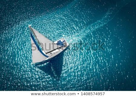 небольшой · парусного · лодка · океана · 3d · визуализации · коричневый - Сток-фото © elenarts