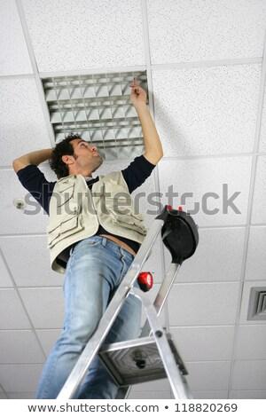 Arbeitnehmer Decke Panel Bau abstrakten Werkzeuge Stock foto © photography33