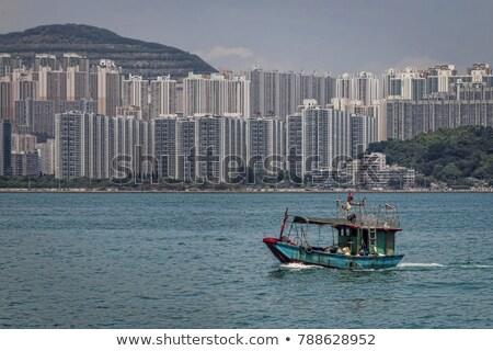 Pescaria barcos apartamento blocos Hong Kong praia Foto stock © kawing921