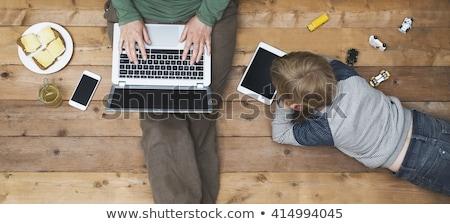 Mulher sessão piso dois laptops feliz Foto stock © photography33