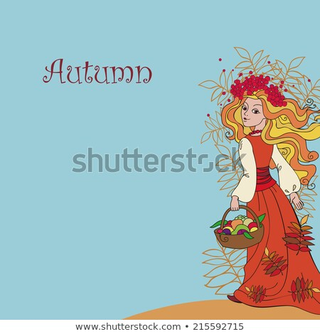 Rowan berry - autumn wreath. Retro style. Beauty woman face Stock photo © gromovataya