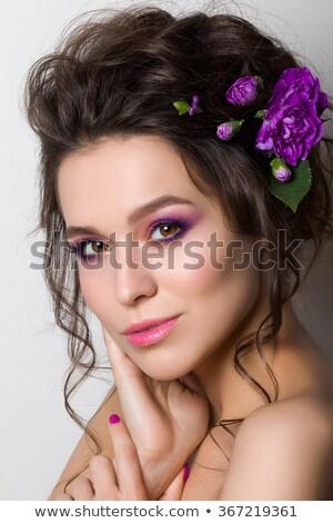 Elegante nina retrato púrpura clavel flor Foto stock © carlodapino