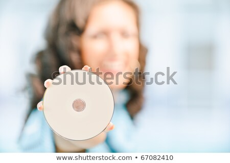 Bruna donna compact disc design band Foto d'archivio © photography33