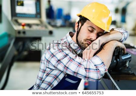 álmos építőmunkás arc ipar munkás alszik Stock fotó © photography33