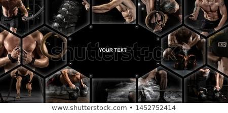 ボディービルダー 小さな 選手 男 レンガの壁 壁 ストックフォト © zastavkin