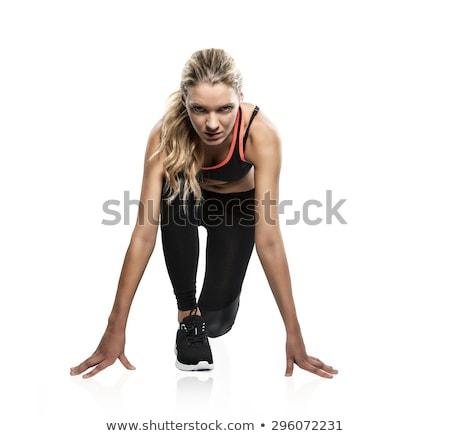 Vrouw lopen pose toevallig jonge vrouw geïsoleerd Stockfoto © rognar