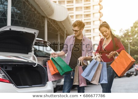 family put shop bags in car stock photo © paha_l