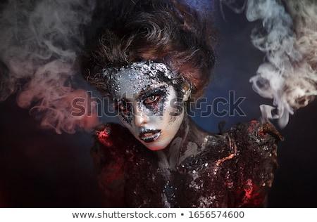Halloween dziewczyna czerwony gothic makijaż kobiet Zdjęcia stock © Mazirama