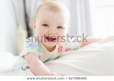 boldog · mosolyog · család · egyéves · kislány · bent - stock fotó © alphababy