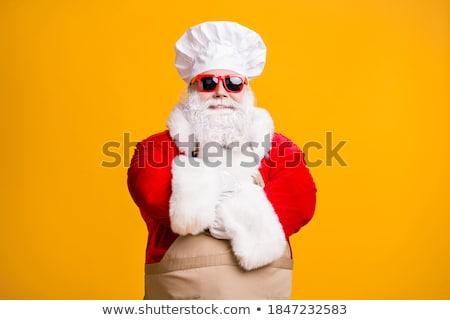 Święty mikołaj hat christmas menu śniegu Zdjęcia stock © sognolucido