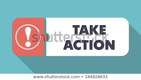Take Action on Blue in Flat Design. Stock photo © tashatuvango