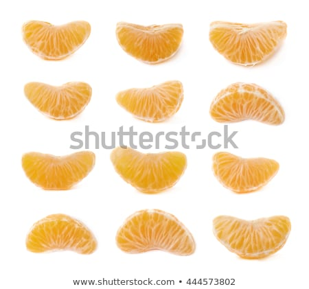 set of Ripe tangerine or mandarin with slices on white Stock photo © bloodua