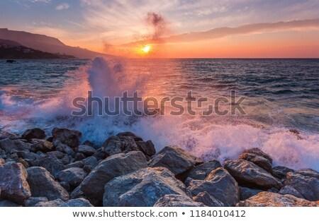 dalga · plaj · büyük · gökyüzü · okyanus · yeşil - stok fotoğraf © nejron
