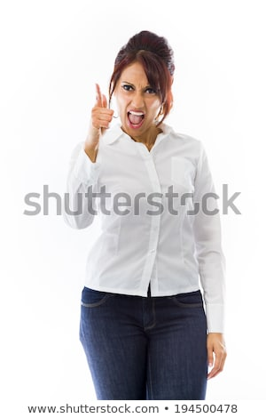 Angry Indian young woman scolding someone isolated on white background Stock photo © bmonteny