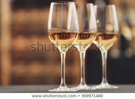 три очки белое вино различный фрукты Сток-фото © manera
