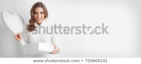 Jonge vrouw opening geschenkdoos haren lichaam vers Stockfoto © dash
