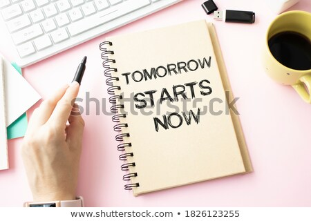 Hand with pen writing Start now Stock photo © Zerbor