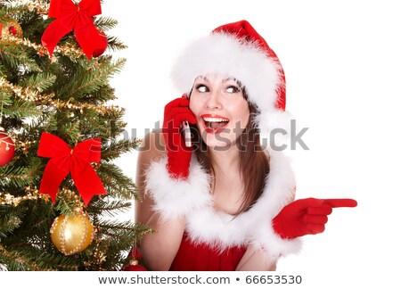 Stockfoto: Mooie · gelukkig · vrouw · kerstman · jurk · roepen