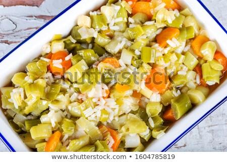Pırasa pirinç akşam yemeği öğle yemeği tahıl yemek Stok fotoğraf © M-studio