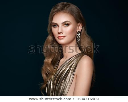 Beautiful brunette girl model with fashion jewelry, makeup and h Stock photo © Victoria_Andreas