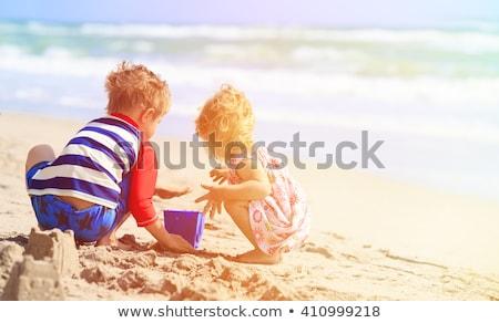 Kid играет пляж Постоянный волейбол воды Сток-фото © tangducminh