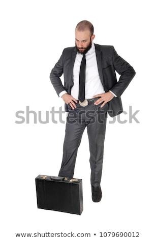 Yakışıklı iş adamı aşağı bakıyor düşünme yandan görünüş Stok fotoğraf © feedough