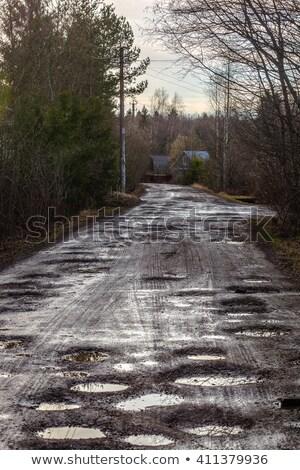 fangoso · camino · de · tierra · neumático · coche · camión · suciedad - foto stock © nneirda