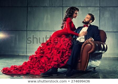 fiatal · nő · estélyi · ruha · ül · piros · szék · izolált - stock fotó © filipw