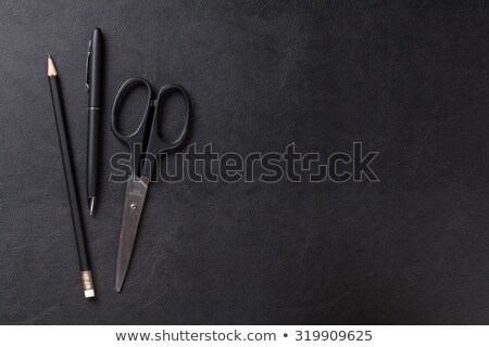 Office leather desk table with pen, pencil and scissors Stock photo © karandaev